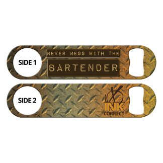 Don't Mess With The Bartender Metallic Copper Diamond Plates Flat Speed Opener
