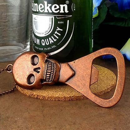 Skull Design Novelty Bottle Opener with Antique Copper Finish