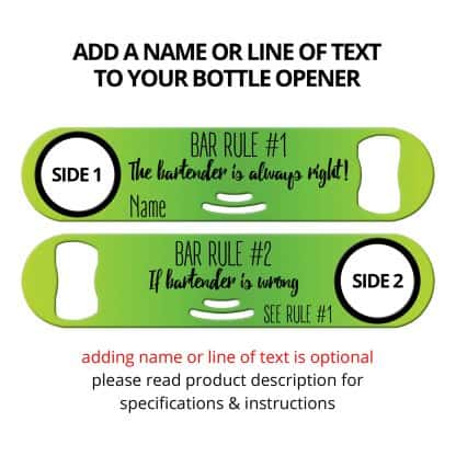 Bar Rules Strainer Bottle Opener With Personalization