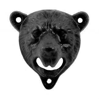 Stationary Wall Mounted Heavy Duty Cast Iron Black Bear Bottle Opener