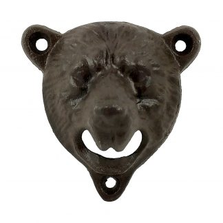 Stationary Wall Mounted Heavy Duty Cast Iron Brown Bear Bottle Opener
