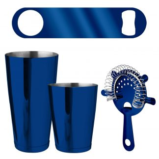 Metallic Blue 4-Piece Bartender Kit