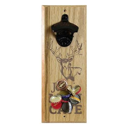 Engraved Man Cave Deer Customizable Wall Mounted Bottle Opener
