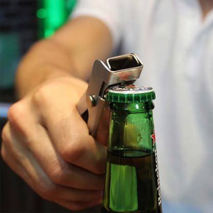 Multi Purpose Bottle Opener with Spout Remover and Garnish Tongs