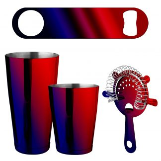 Metallic Red & Blue 4-Piece Bartender Kit