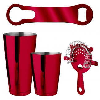 Metallic Red 4-Piece Bartender Kit