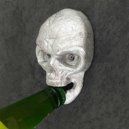 Silver Skull Stationary Cast Iron Wall Mounted Bottle Opener