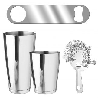 Metallic 4-Piece Silver Bartender Kit