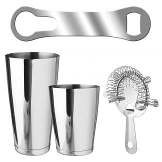 Metallic 4-Piece Silver Bartender Kit With V-Rod Bottle Opener