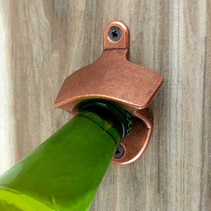 Standard Stationary Wall Mounted Bottle Opener with Antique Copper Finish