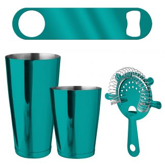Metallic Teal 4-Piece Bartender Kit