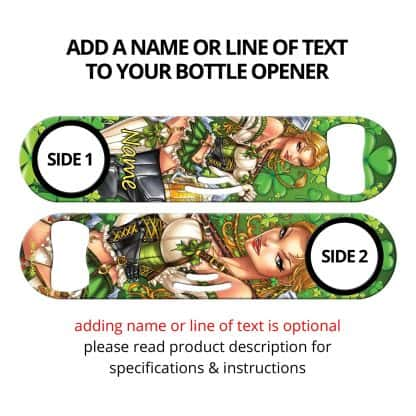 Irish Girl Commissioned Art Cocktail Strainer Bottle Opener With Personalization