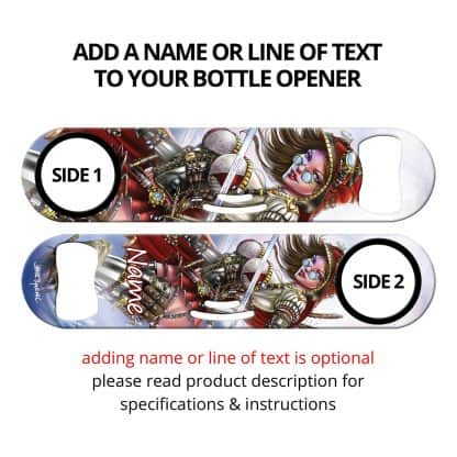 Red Steam Commissioned Art Cocktail Strainer Bottle Opener With Personalization