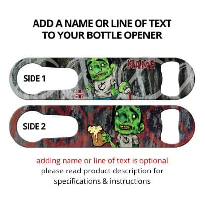 Zombie Bartender Commissioned Art PSR Bottle Opener With Personalization
